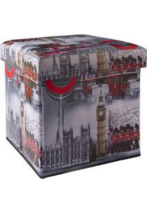 Puff Box Londres- Cinza & Vermelho- 39X39X39Cm- Falkk