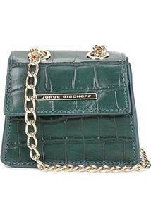Bolsa Couro Jorge Bischoff Mini Bag Croco Alça Corrente Feminina - Feminino-Verde