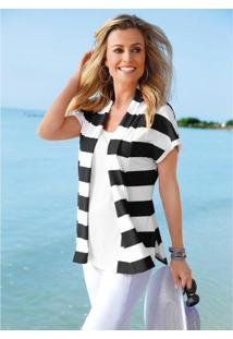 Blusa Visual Duplo Listrada Branca E Preta