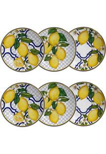 Jogo De Pratos De Sobremesa Scalla Sicília - Limões Sicilianos (6 Peças) - Tricae