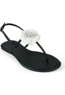 Rasteira Básica Mercedita Shoes Flor Feminina - Feminino-Branco+Preto