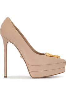 Versace Sapato Com Aplicação De Logo E Salto Alto - Rosa