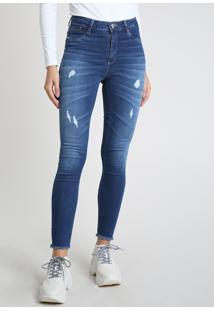 Calça Jeans Feminina Sawary Skinny Push Up Cintura Alta Destroyed Azul Médio
