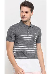 Camisa Polo Gajang Bicolor Listras Masculina - Masculino-Chumbo