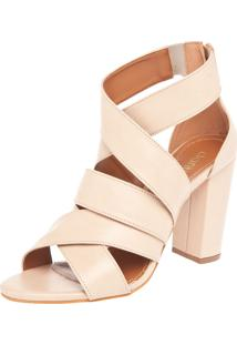 Sandália Dafiti Shoes Salto Geométrico Nude