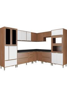 Cozinha Compacta Multimóveis Calábria 5461Mf.680.131.680.816 Nogueira Branco Se