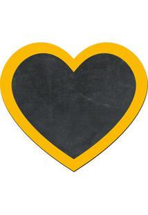 Quadro Decorativo Lousa De Giz Coração- Preto & Amarelo