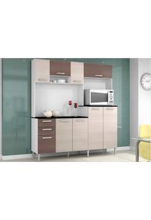 Cozinha Compacta Gisele Amêndoa Com Capuccino - Poquema