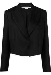 Stella Mccartney Blazer Cropped Com Ombreiras - Preto