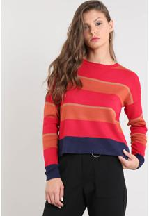 Suéter Feminino Em Tricô Listrado Decote Redondo Vermelho