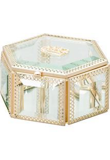 Porta Joias Coroa- Incolor & Dourado- 11X6X6Cm- Lyor