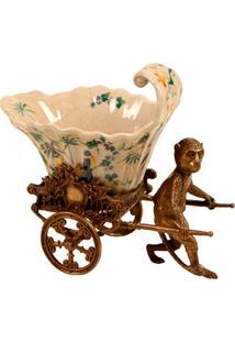 Vaso Decorativo De Porcelana Jahan Com Macaco De Bronze