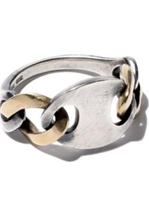 Hum Anel De Ouro 18K E Prata - Silver