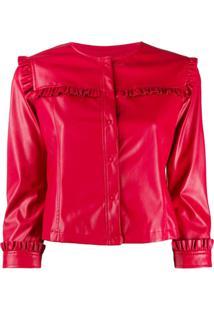 Liu Jo Frill Trim Collarless Jacket - Vermelho