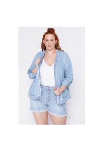 Jaqueta Almaria Plus Size Clamarroca Bomber Jeans Azul