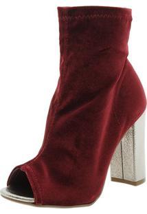 Bota Feminina Ankle Boot Vinho Via Marte - 173401