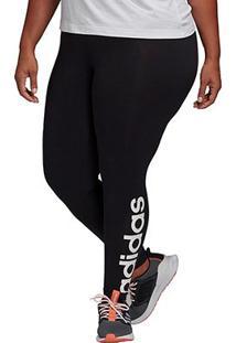 Calça Legging Plus Size Adidas Essentials Feminina - Feminino-Preto+Branco