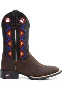 Bota Texana Bico Quadrado Floather Preto 00978 - Masculino-Marrom+Preto