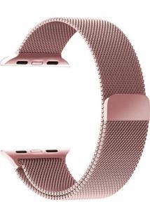 Pulseira Milanês Para Apple Watch 42Mm Aço Inoxidável Rosa