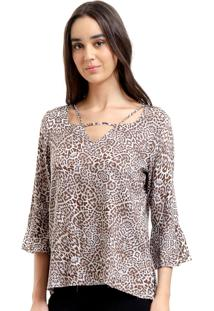 Blusa 101 Resort Wear Decote Tiras Viscose Animal Print Marrom