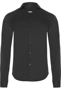 Camisa Masculina Slim Fit Lisa - Preto