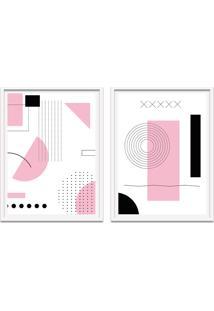 Quadro Oppen House 67X100Cm Formas Geométricas Liberté Rosa Moldura Branca Com Vidro