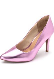 Scarpin Salto Fino Flor Da Pele Metalizado Holográfico Rosa