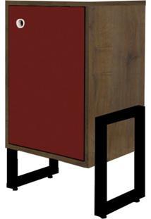 Mesa De Cabeceira Wooli 1 Porta Castanho/Bordô - Fit Mobel