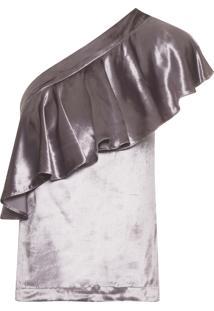 Blusa Feminina Ombro Só Velvet - Rosa