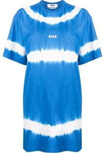 Msgm Vestido Reto Tie-Dye - Azul
