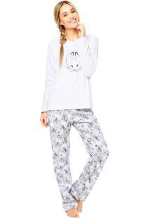 Pijama Cor Com Amor Manga Longa Branca