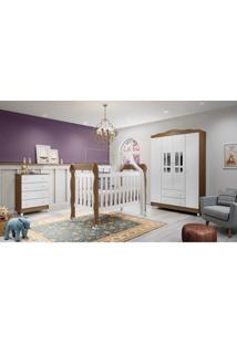 Dormitório Ariel - Guar. Roupa Ariel 4 Pts / Comoda Ariel 4 Gav / Berço Lila Amadeirado