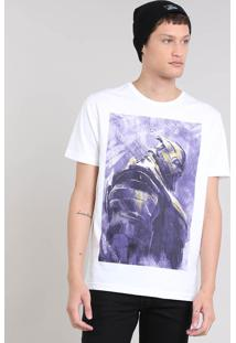 Camiseta Masculina Os Vingadores Thanos Manga Curta Decote Redondo Branca