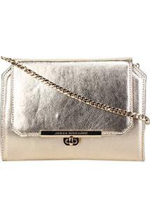 Bolsa Couro Jorge Bischoff Mini Bag Alça Corrente Feminina - Feminino-Ouro