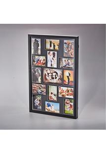 Painel De Fotos Preto Collection Para 15 Fotos Woodart