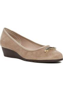 Sapato Anabela Feminino Moleca Bege