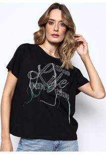 """Camiseta """"One Life"""" Com Bordado- Preta & Verde- Sommsommer"""