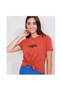 """Camiseta Feminina Manga Curta Cropped """"Best Time"""" Flocada Com Nó Decote Redondo Cobre"""
