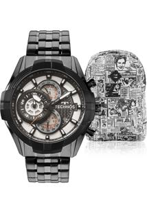 68e37059851 Eclock. Relógio Masculino Technos Clock Aço Dobrável Analógico Tamanho  Grande Kit ...