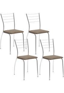 Cadeira 1700 Cromada 04 Unidades Camurça Conhaque Carraro