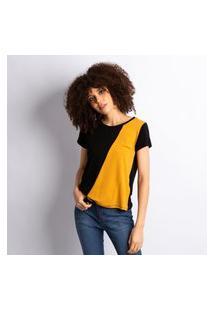 Blusa Feminina Malha Recorte Bicolor Preto Com Mostarda