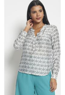 Blusa Com Seda Botões- Branca Cinza- Vip Reservavip Reserva