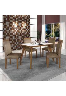 Conjunto De Mesa De Jantar Lavinia Com 4 Cadeiras Pampulha I Veludo Imbuia Mel Branco