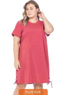 Vestido Liso Com Detalhes Em Ilhós Vermelho