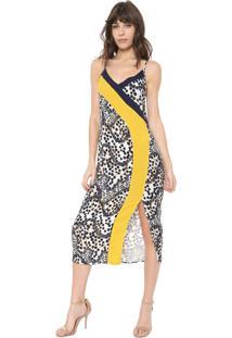 Vestido Triton Midi Tigre Color Bege/Amarelo