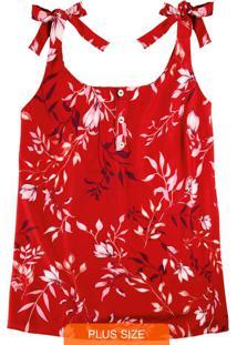 Blusa Vermelha Floral Com Amarração