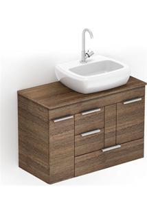 Gabinete Para Banheiro Em Mdf Com Cuba Fit 80X38Cm Wengué