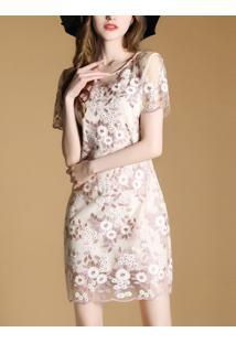 Vestido Curto De Renda Design Em Rosas - Rosa Claro Xgg