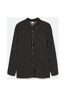 Camisa Manga Longa Estampa Geométrica | Marfinno | Preto | Gg