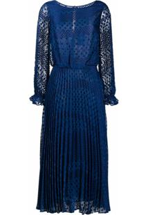 Emporio Armani Vestido Com Pregas E Poás - Azul